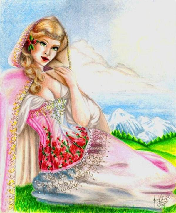 Figure Art Print featuring the drawing Beauty Of The View by Scarlett Royal