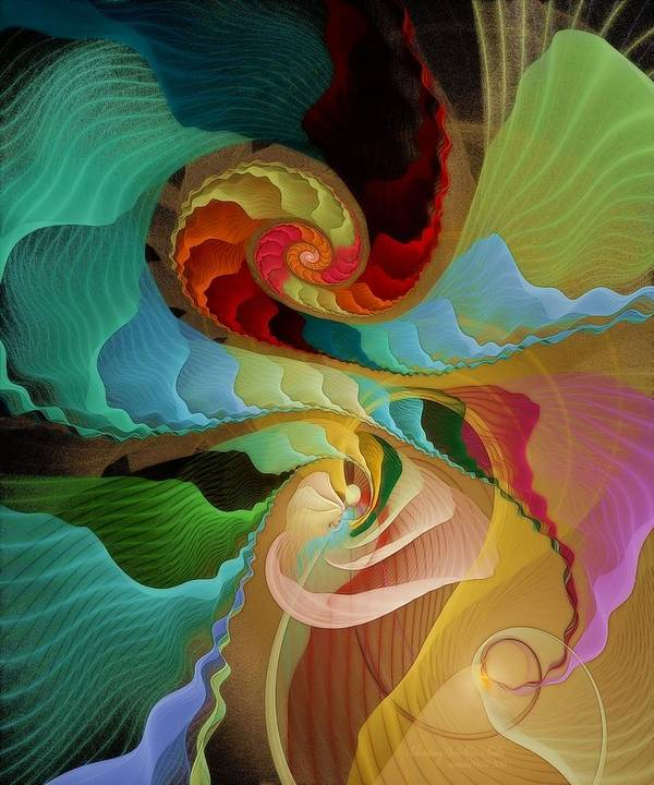 Fractal Art Print featuring the digital art Blending Into Our Souls by Gayle Odsather