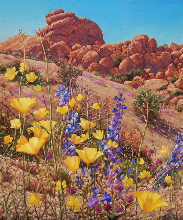 Desert Art Print featuring the painting Blooming Desert by Johanna Girard