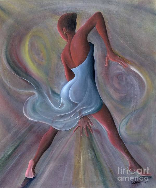 Female Art Print featuring the painting Blue Dress by Ikahl Beckford