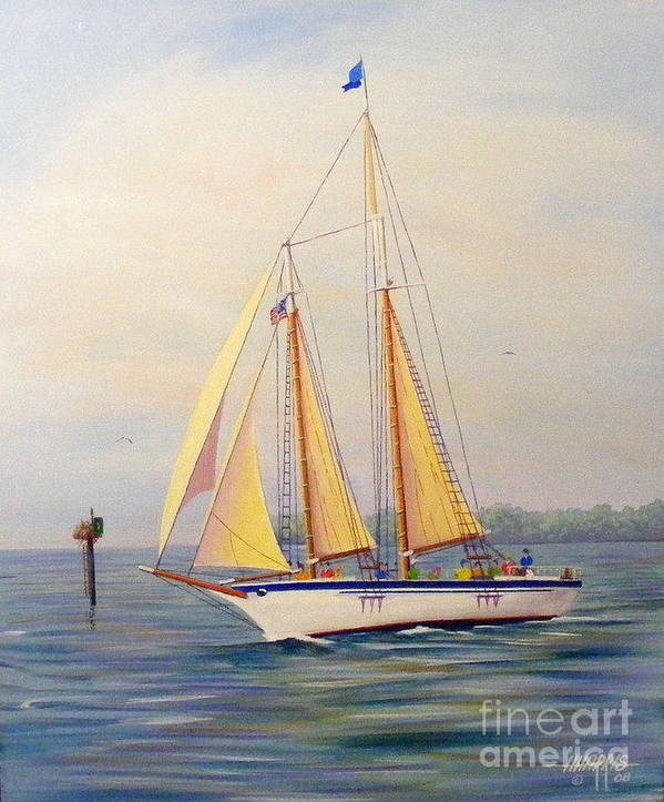 Water.blue Art Print featuring the painting Catching The Wind by Hugh Harris