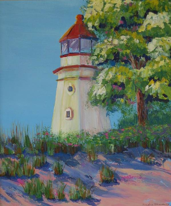 Lighthouse Art Print featuring the painting Cheboygan Lighthouse by Art Nomad Sandra Hansen