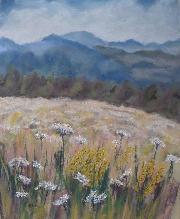 Cherokee Nc Art Print featuring the painting Cherokee Wildflowers by Cathy Weaver