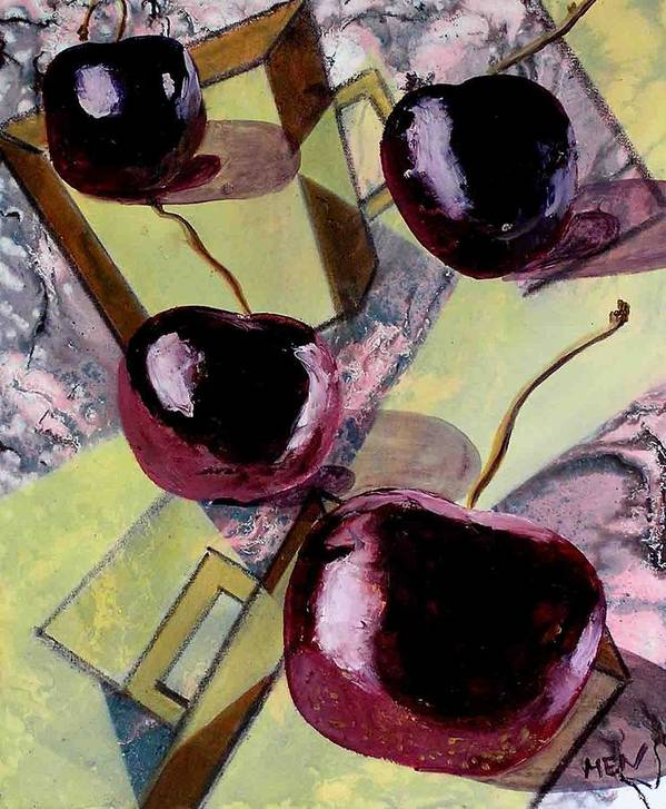 Cherries Art Print featuring the painting Cherries On Flat Homeware by Evguenia Men