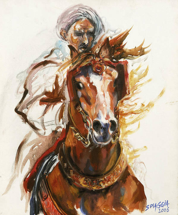 Horse Art Print featuring the painting Cheval Arabe Monte En Action by Josette SPIAGGIA