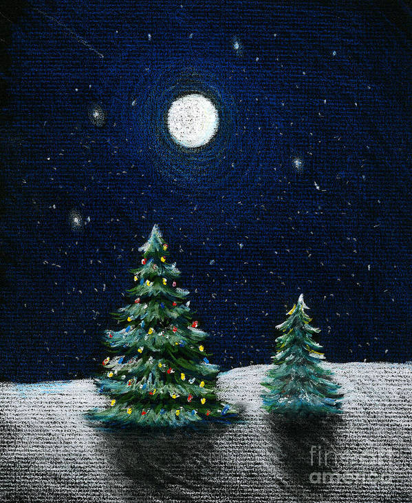 Christmas Trees Art Print featuring the drawing Christmas Trees In The Moonlight by Nancy Mueller