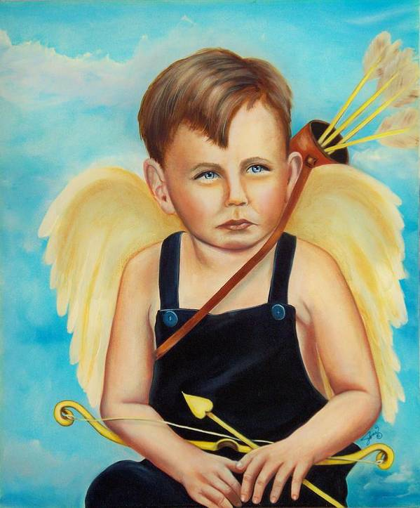 Angel Art Print featuring the painting Cupid by Joni McPherson
