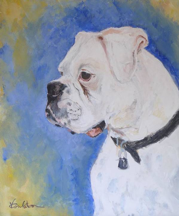 Animals Print featuring the painting Danger The White Boxer by Veronica Coulston