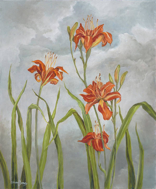 Flower Art Print featuring the painting Daylilies by Shari Jones