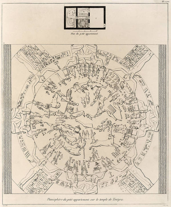 Dendera Zodiac Art Print featuring the photograph Dendera Zodiac From The Temple Of Hathor by Humanities And Social Sciences Libraryasian And Middle Eastern Division