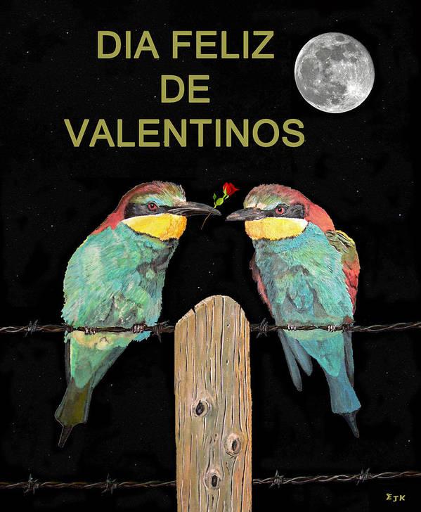 Dia Feliz De Valentinos Art Print featuring the painting Dia Feliz De Valentinos Bee Eaters by Eric Kempson