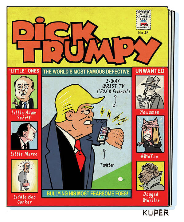 The Misadventures Of Dick Trumpy Art Print featuring the drawing Dick Trumpy by Peter Kuper