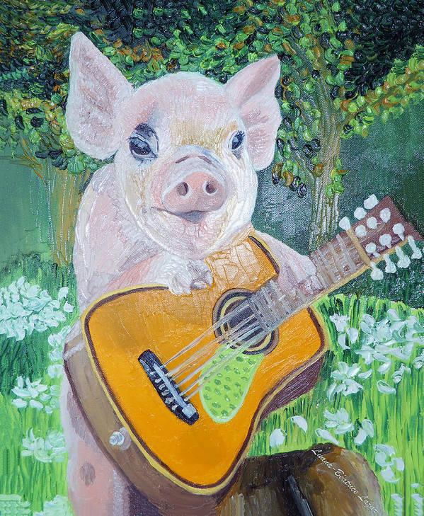 Piggy Art Print featuring the painting Elvis by Luana-Beatrice Lazar