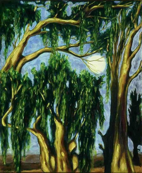 Moon Art Print featuring the painting Eucalyptus Moon by Helen O Hara
