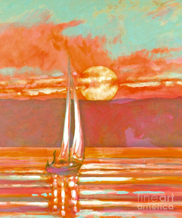 Sailing Art Print featuring the painting Eventful Evening 2 by Kip Decker