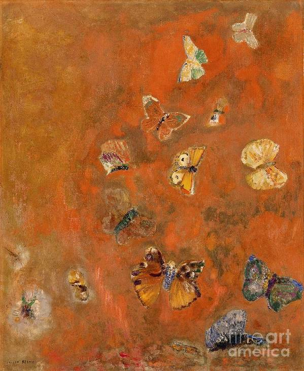 Evocation Art Print featuring the painting Evocation Of Butterflies by Odilon Redon