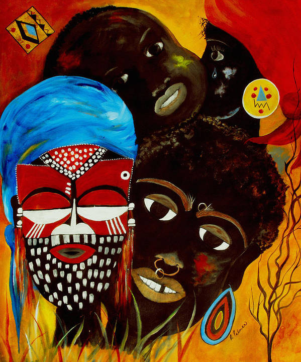 Abstract Art Print featuring the painting Faces Of Africa by Ruth Palmer