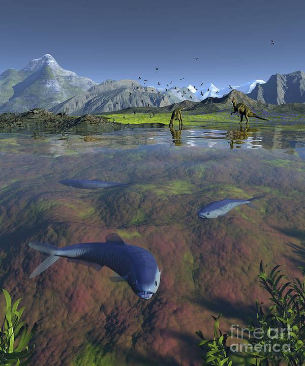 Earth Art Print featuring the digital art Fanged Enchodus Predatory Fish by Walter Myers