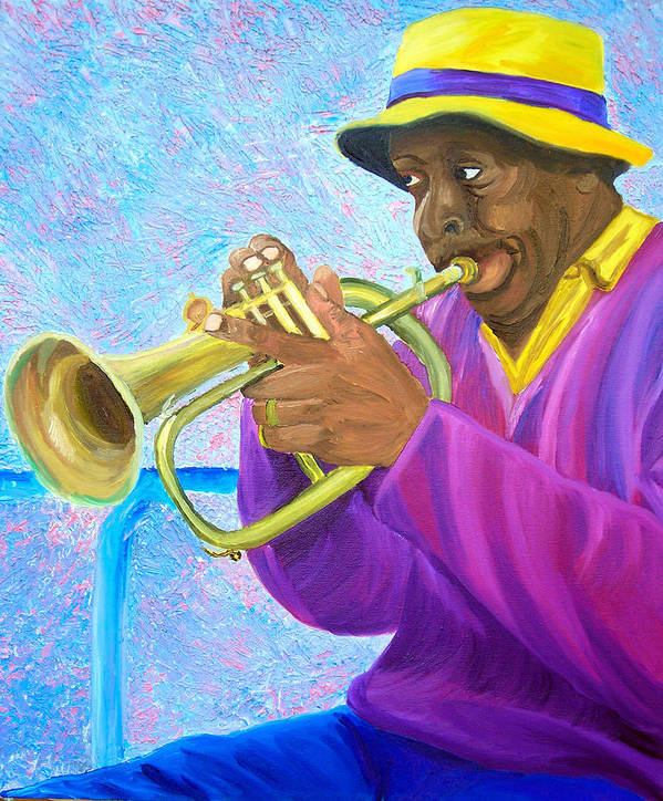 Street Musician Art Print featuring the painting Fat Albert Plays The Trumpet by Michael Lee