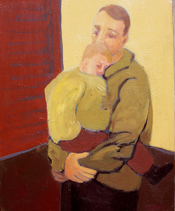 Child Art Print featuring the painting Father And Son by Renee Kahn