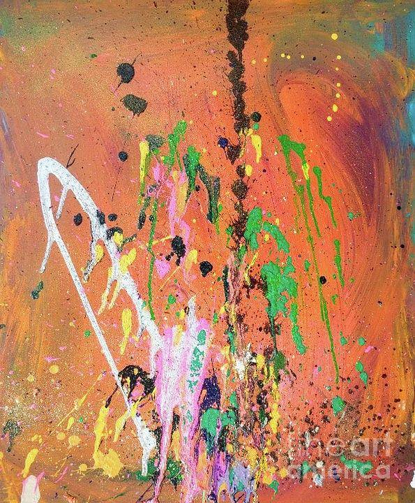 Abstract Art Print featuring the mixed media Fireworks by Christina Bolinger