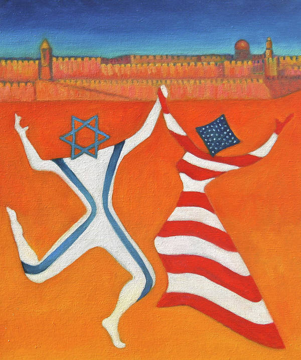 Judaica Art Print Featuring The Painting Flags Dancing With Israeli Man And American Woman By Jane
