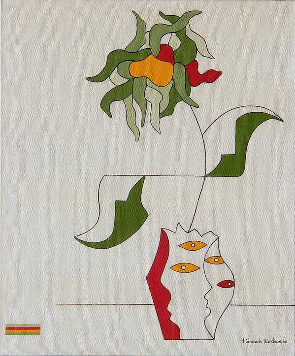 Flower Modern Constructivisme Special Original Art Print featuring the painting Flower by Hildegarde Handsaeme