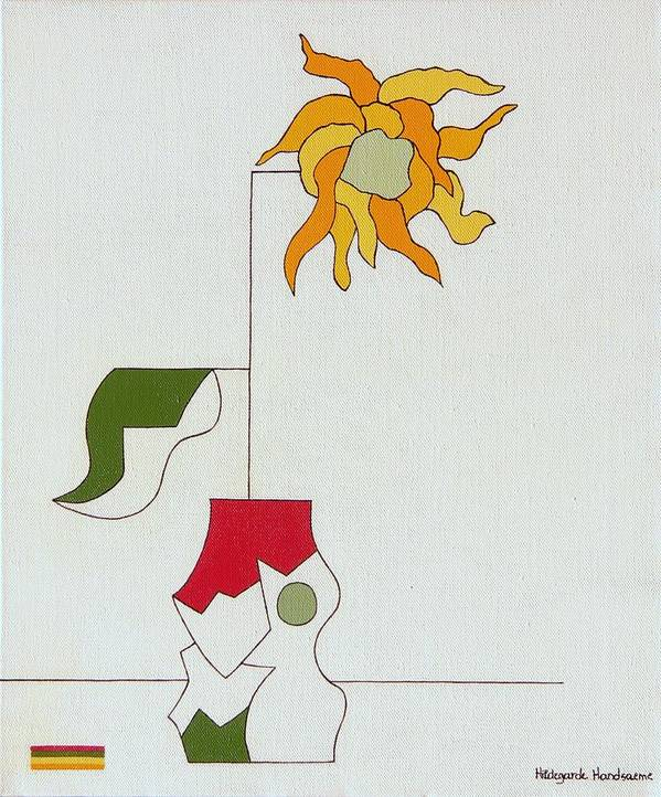 Flower Special Original Modern Constructivisme Stylisme Art Print featuring the painting Flower II by Hildegarde Handsaeme