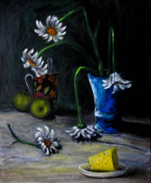 Flower Art Print featuring the painting Flowers Camomiles Still Life Acrylic Painting by Natalja Picugina