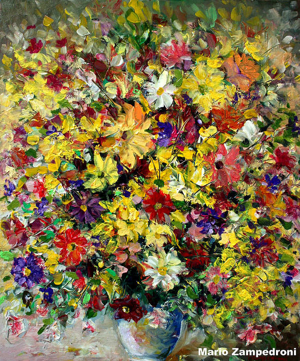 Flowers Art Print featuring the painting Flowers by Mario Zampedroni