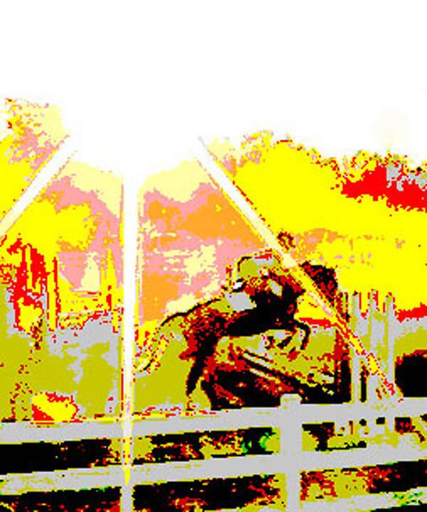 Horse Art Print featuring the digital art Fun In The Sun by Donna Thomas