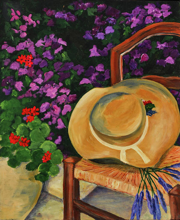 Garden Art Print featuring the painting Garden Scene by Elise Palmigiani