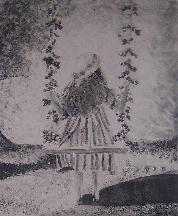 Girl Art Print featuring the painting Girl On A Swing by Emily Young