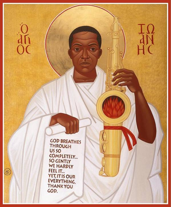 Saint John Coltrane. Black Christ Religion Art Print featuring the painting God Breathes Through The Holy Horn Of St. John Coltrane. by Mark Dukes