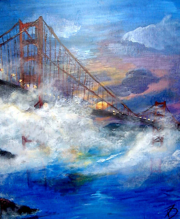 Golden Gate Art Print featuring the painting Golden Gate Sunset by Travis Day