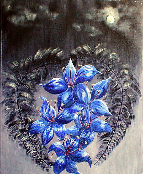 Goth Art Print featuring the painting Gothic Lily's 1 by Sandy Wager