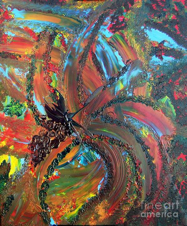 Grapes Art Print featuring the painting Grape Elation by Karen L Christophersen