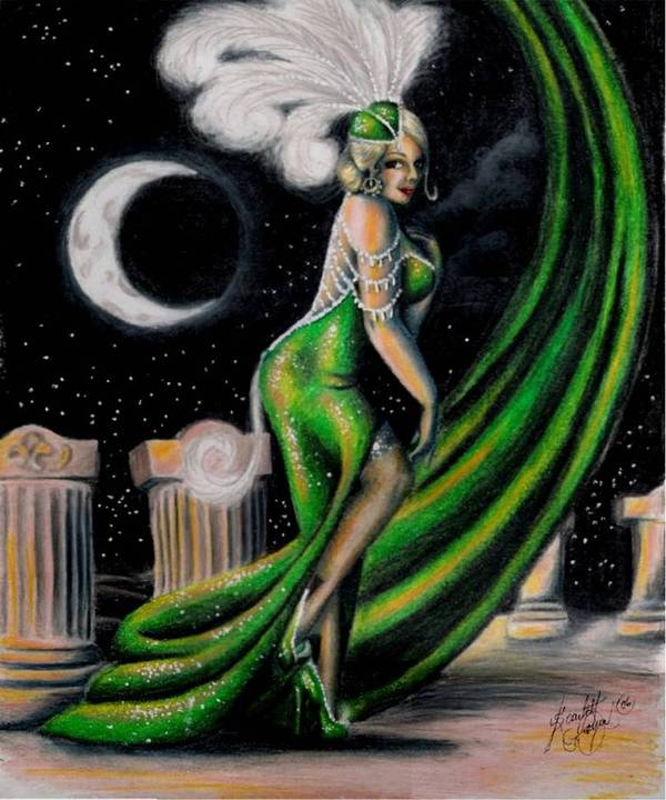 Night Art Print featuring the drawing Green With Envy by Scarlett Royal