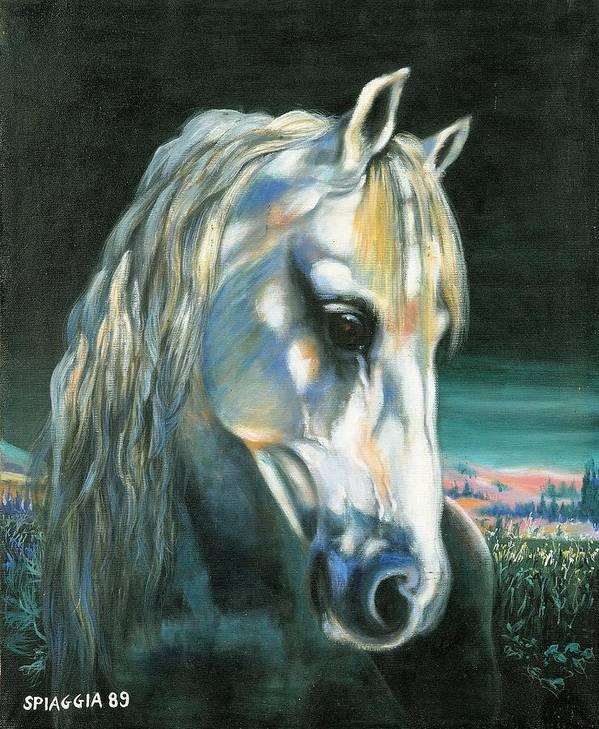 Horse Art Print featuring the painting Gringo Etalon Portugais by Josette SPIAGGIA