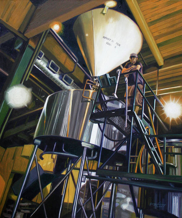 Portrait Art Print featuring the painting Hales Ales Composition In Secondary Color by Gregg Hinlicky