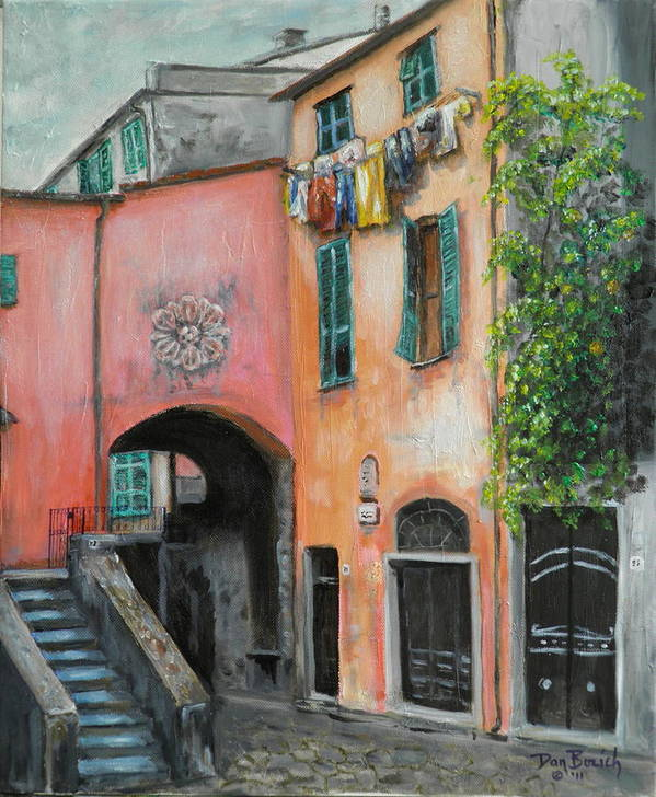 Cityscape Art Print featuring the painting Hanging Out In Monterosso Al Mare by Dan Bozich