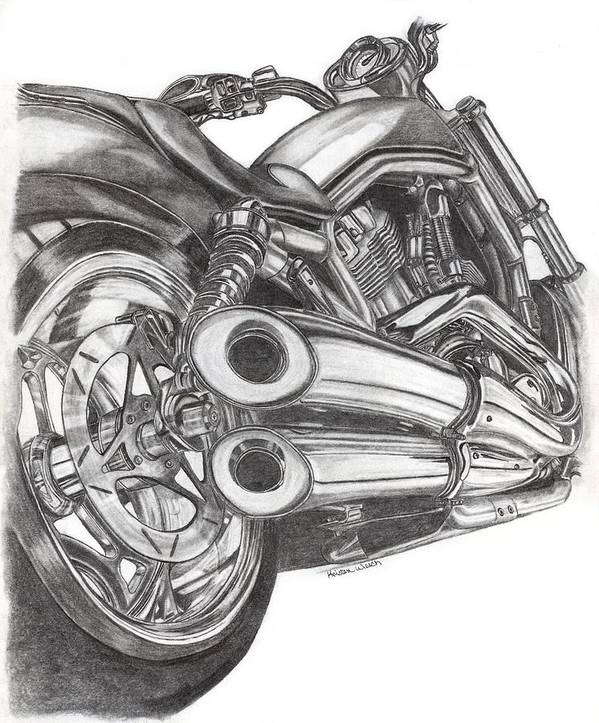Harley Davidson Art Print featuring the drawing Harley by Kristen Wesch