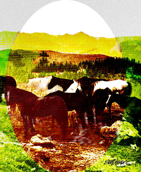 Mustangs Art Print featuring the digital art High Plains Horses by Seth Weaver