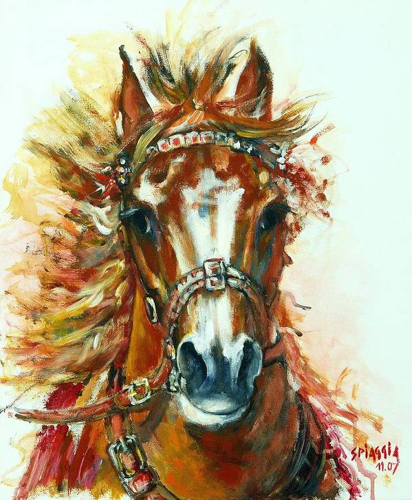 Horse Art Print featuring the painting Hmar Pur-sang Arabe by Josette SPIAGGIA