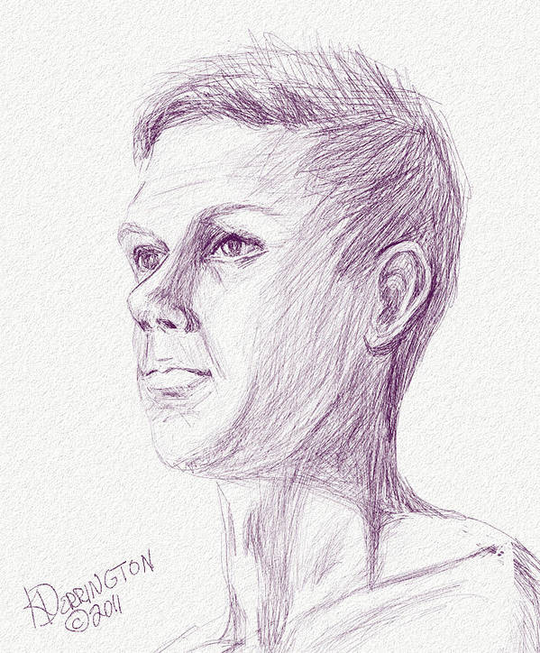 Male Art Print featuring the painting Ian's Sketch One by Khaila Derrington