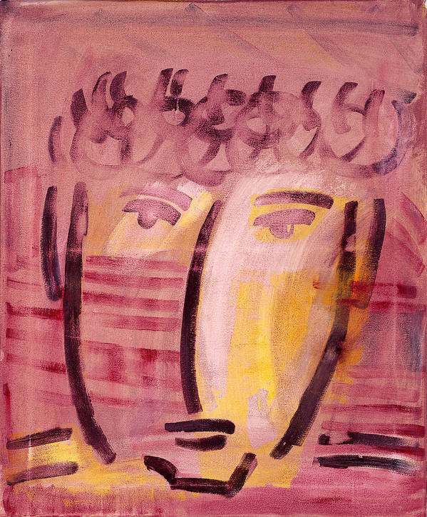 Abstract Art Print featuring the painting Inca Head by Michael Keogh