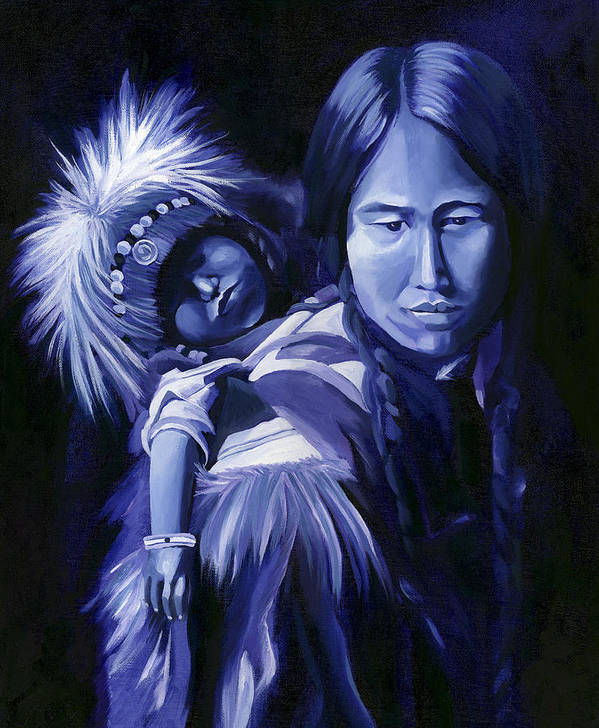 Native American Art Print featuring the painting Inuit Mother And Child by Nancy Griswold