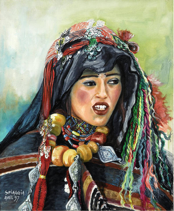 Morocco Art Print featuring the painting Jeune Femme Berbere De Atlas Marocain by Josette SPIAGGIA