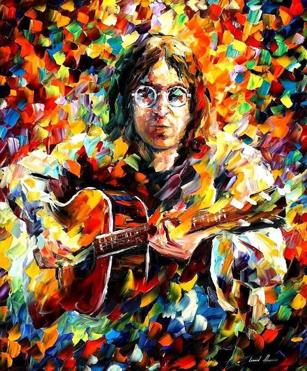 Beatles Art Print featuring the painting John Lennon by Leonid Afremov