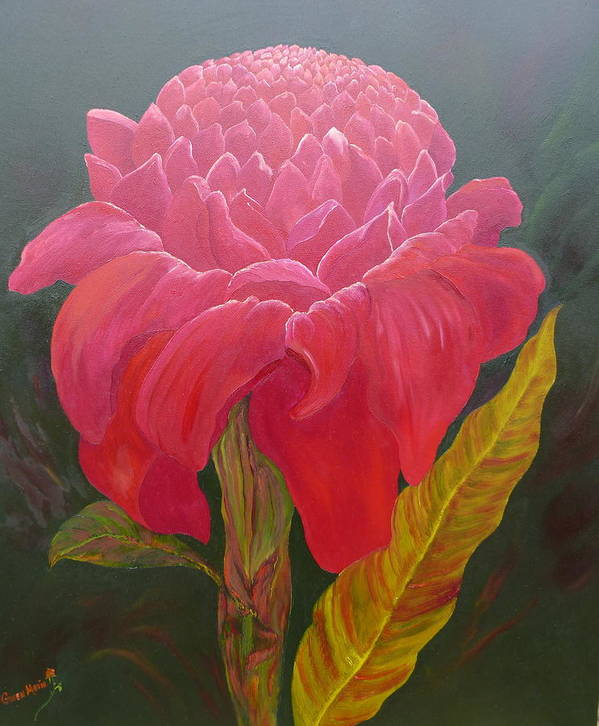 Art Print featuring the painting Jungle Queen Torch Ginger by Gwen Rose